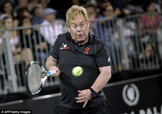 Game-changer: Elton John displayed his extreme commitment to sport on Monday when he took part in the World Team Tennis Smash Hits charity tennis event benefiting his AIDS Foundation at Caesars Palace, Las Vegas