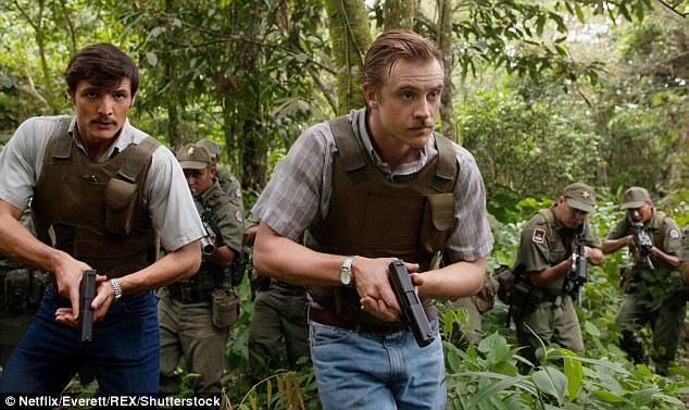 On the hunt: Boyd plays Drug Enforcement Administration agent Steve Murphy in the Netflix series Narcos, which chronicles the rise and fall of Colombian drug lord Pablo Escobar