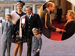 Veteran singer Sir Rod Stewart at Buckingham Palace in London, with his wife, Penny Lancaster and children Alastair and Aiden, after he received his knighthood in recognition of his services to music and charity. PRESS ASSOCIATION Photo. Picture date: Tuesday October 11, 2016. See PA story ROYAL Investiture. Photo credit should read: Gareth Fulller/PA Wire