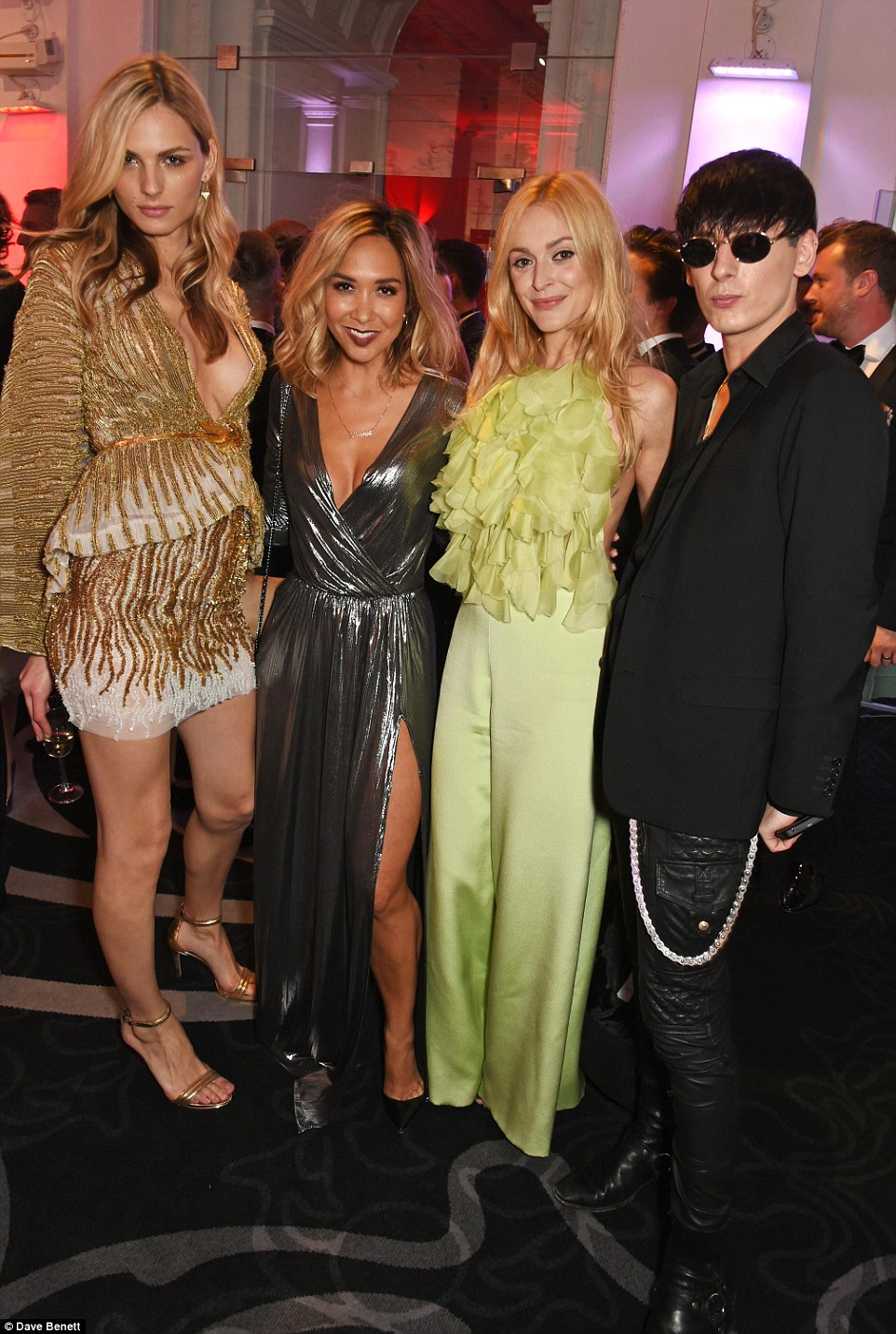 The gang: Andreja Pejić joined Myleene, Fearne and photographer Damon Baker for a snap