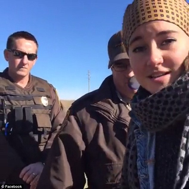 The 24-year-old actress was livestreaming her protest Monday of the four-state Dakota Access pipeline for a total of more than two-and-a-half hours Monday before her arrest by local authorities