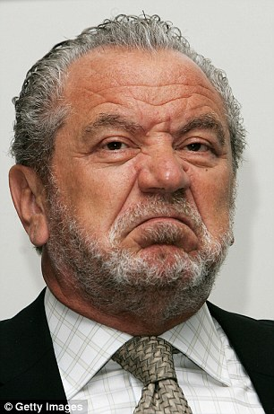 Alan Sugar, 69, of The Apprentice fame, inquires of perky Strictly Come Dancing presenter Claudia Winkleman, 44