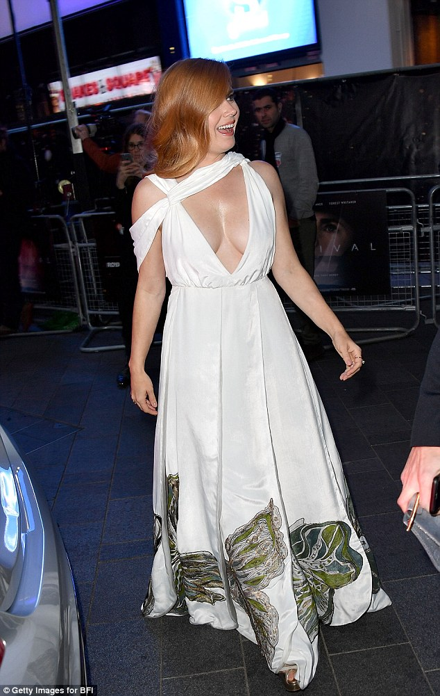 Elegant: Amy glided into the event looking graceful and composed