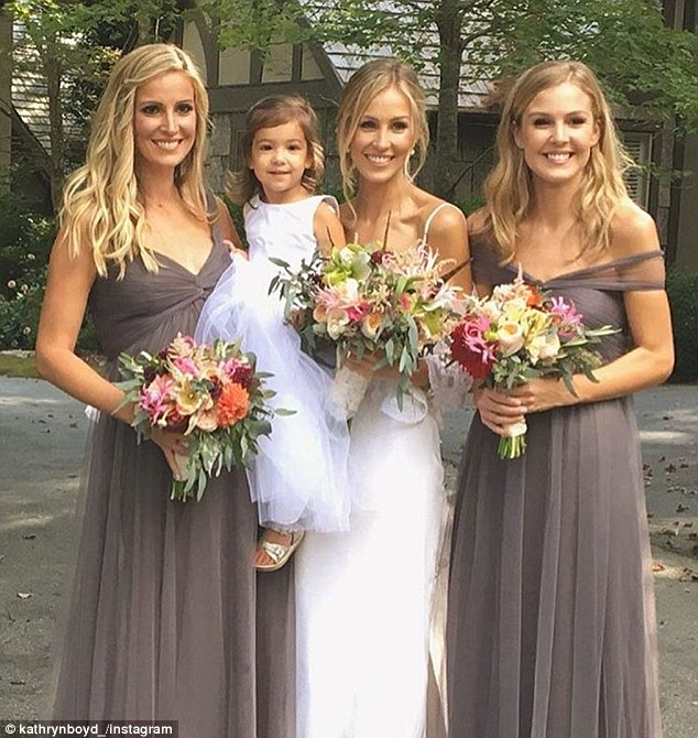 Bridal party: Kathryn with her bridesmaids and flower girl