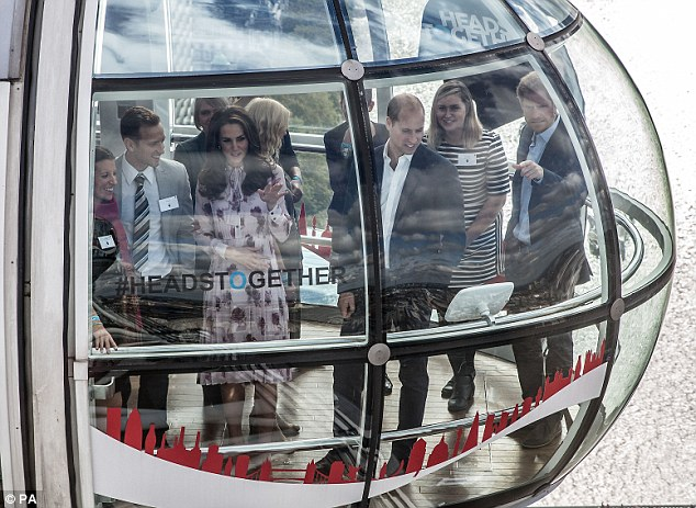 Prince Harry was accompanied by his brother and sister-in-law for a trip on The London Eye