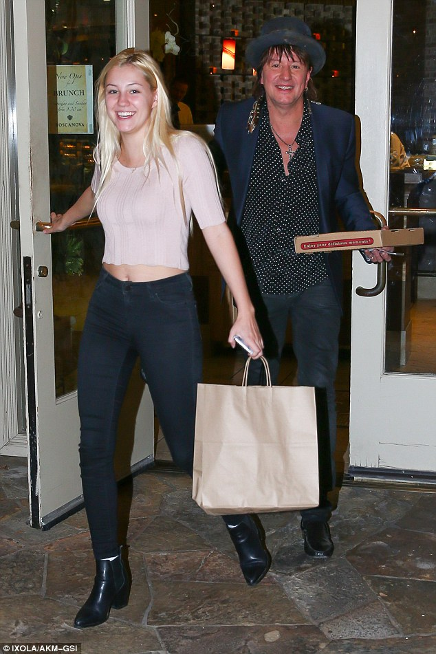 Night out: Richie Sambora and his daughter Ava were all smiles as they shared a father-daughter dinner in Calabasas on Sunday