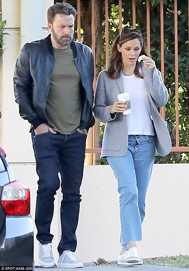 Together again: Ben Affleck and Jennifer Garner took the children to school in Brentwood, California on Monday