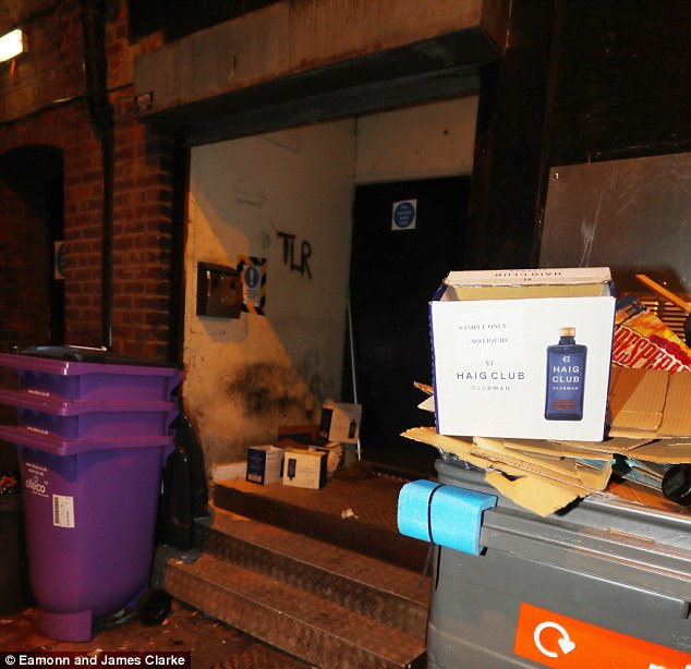 Spot of branding: Empty boxes for David's Haig Club whisky were seen piled up outside the venue
