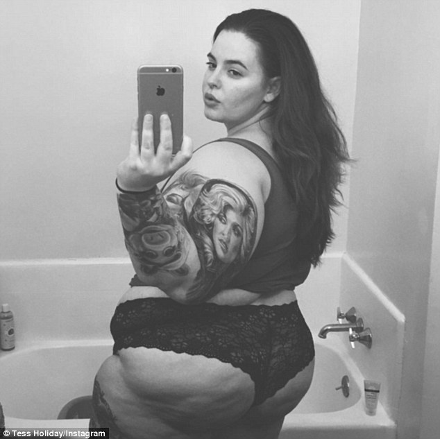 Powerful picture: Plus-size model Tess Holliday shared this provocative selfie on her Instagram account on Friday, while issuing a warning to her haters