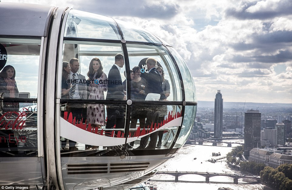 They royals spent around 30 minutes in a pod enjoying spectacular views of the capital which increased as they travelled upwards, giving them a bird's eye view of landmarks such as Buckingham Palace