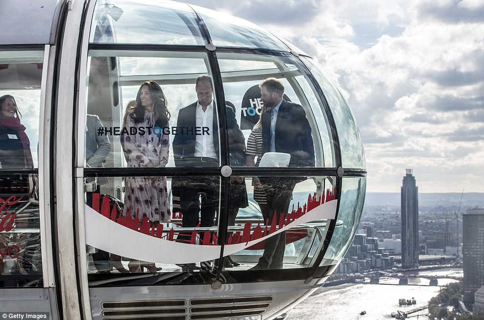 The royals travelled on The London Eye, which later will be lit up in purple along with other landmarks as part of the global Light Up Purple drive in support of mental health awareness