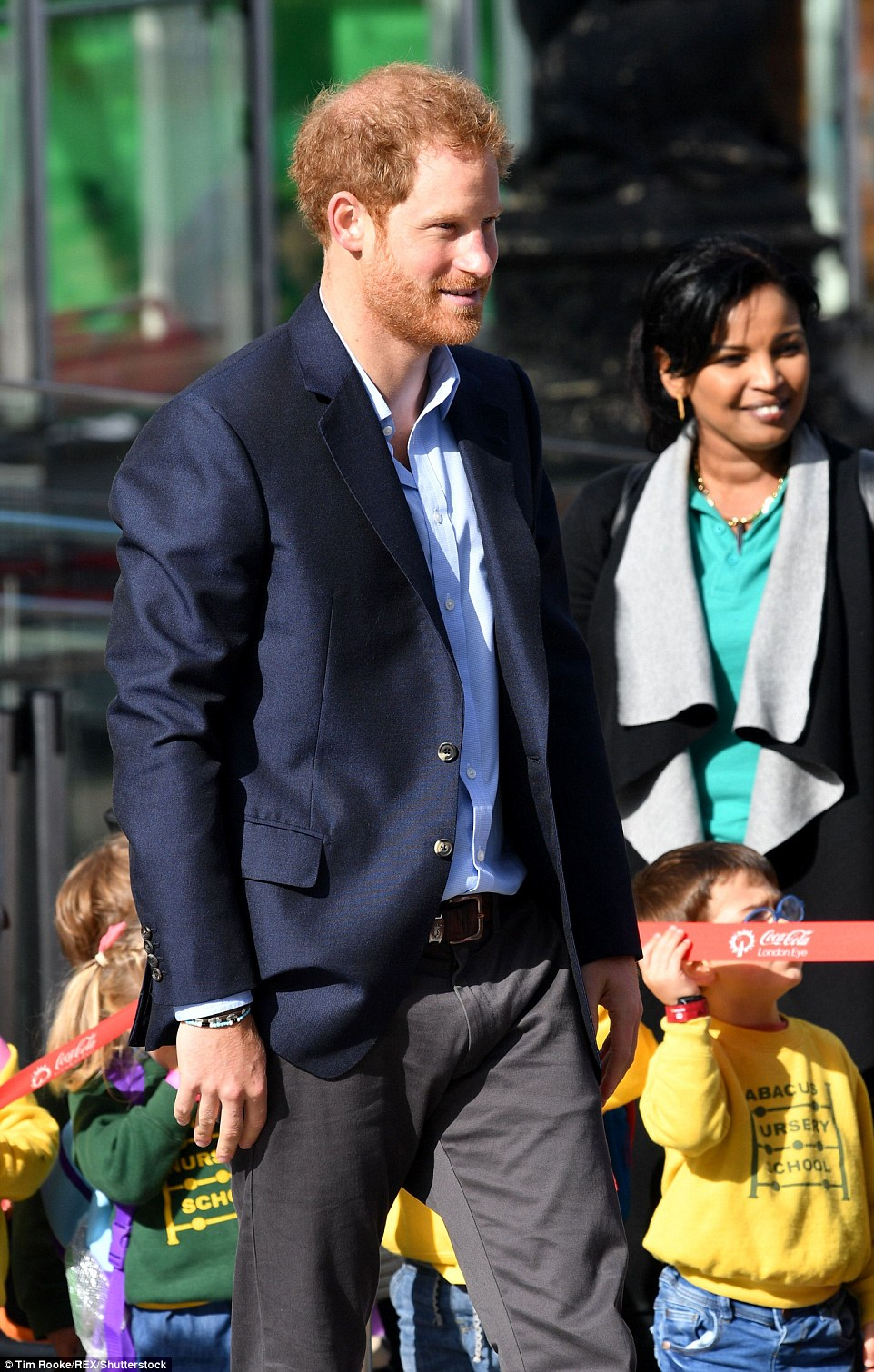 A smiling Prince Harry soaks up the atmosphere on a sunny afternoon on London's Southbank