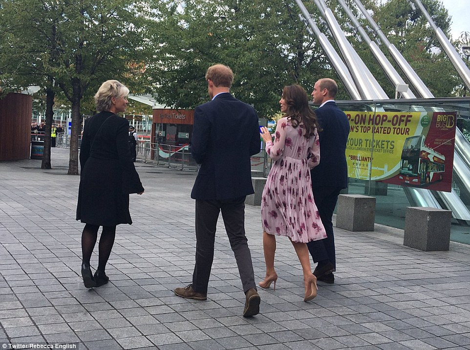 The royal trio are accompanied to County Hall to meet with people who have suffered mental health issues and hear how they were helped by friends and family