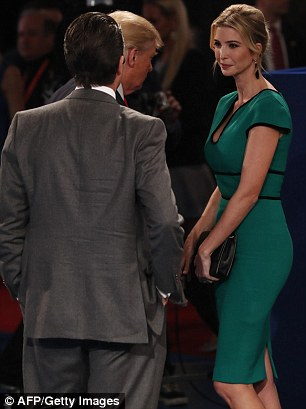 Branching out: Ivanka Trump, 34, pictured left with her father Donald and right with her brother Donald Jr, shunned her own brand for the second presidential debate
