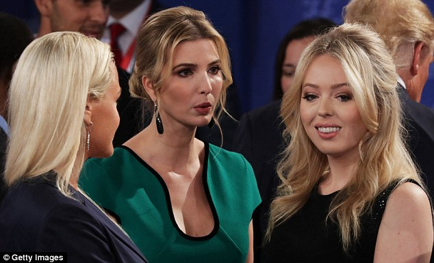 Sticking together: All of the female members of Trump's family - including his youngest daughter Tiffany (right) and his daughters-in-law were dressed to the nines for the event