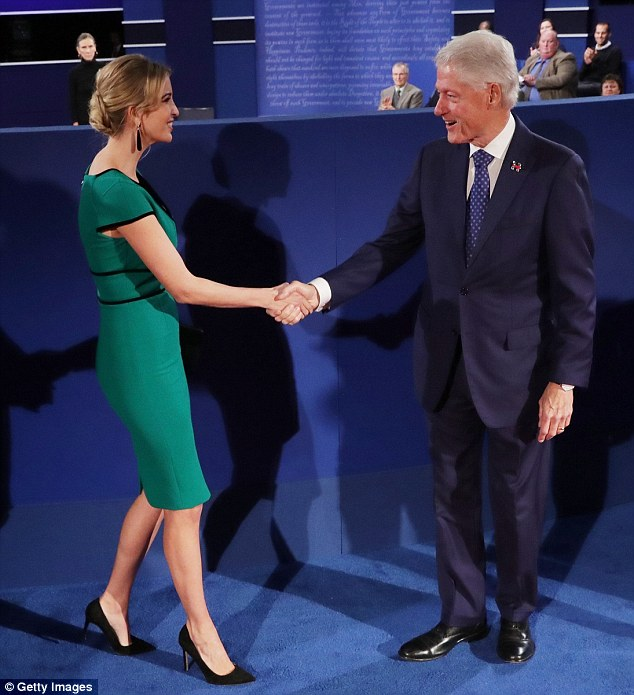 Own brand: But Ivanka did appear to be wearing shoes and a bag from her own collection