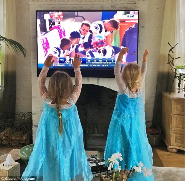 'Go Pats!' Gisele snaps Vivienne cheering on dad Tom Brady as he returns after Deflategate suspension