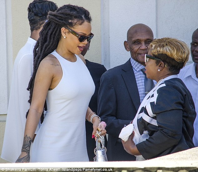 Grounded: Rihanna returned to her hometown of Bridgetown, Barbados for the christening of her cousin Nikolai over the weekend