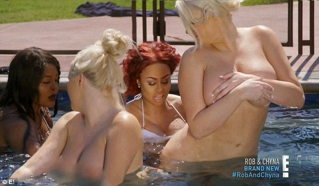 Pool fun: Chyna's pals stripped down for fun in the pool
