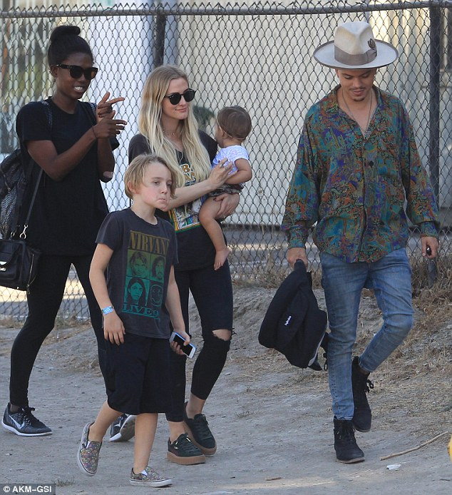 The whole clan:The 32-year-old musician was seen grabbing lunch at Rocco's Bar and Grill with her husband Evan Ross and her two children Bronx Wentz and Jagger Ross