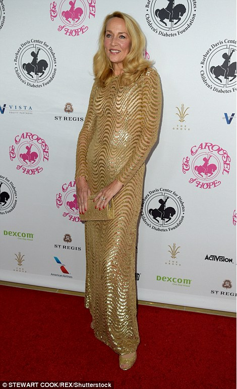 Jerry Hall, 60, dazzled in a gold sequin dress at the gala in the US on Saturday