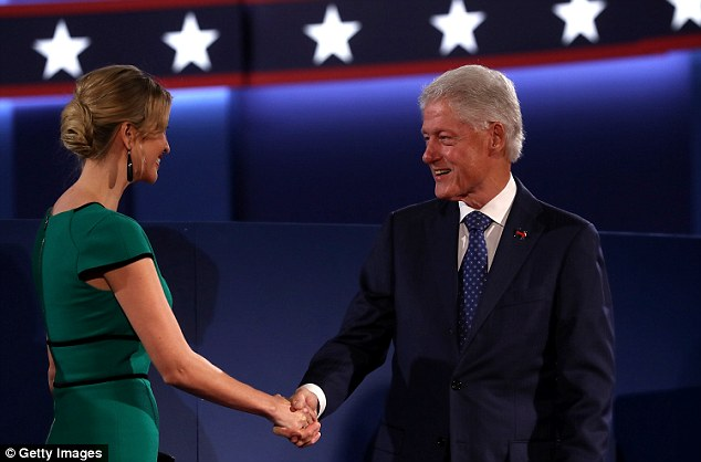 Quiet as a mouse:Ivanka, who has often been her father's most vocal supporter, has remained shockingly silent about the tape (Ivanka shaking Bill Clinton's hand at Sunday night's debate)