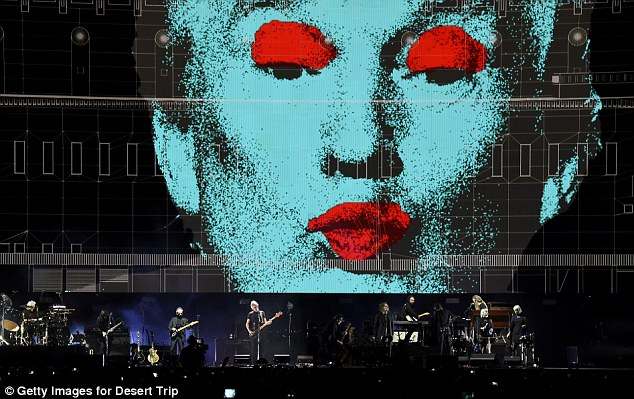 Several illustrations of Trump showed his face with what appeared to be makeup on it during the performance
