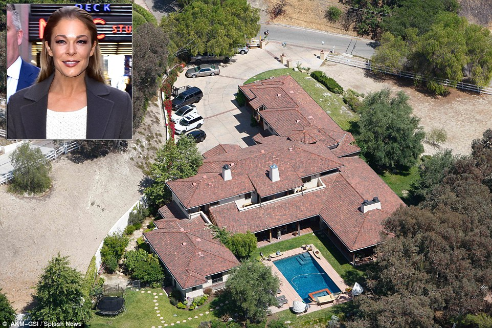 The residents of Hidden Hills enjoy a 'rural, country way of life,' according to the community's website. Above, an aerial shot of LeAnn Rimes' home