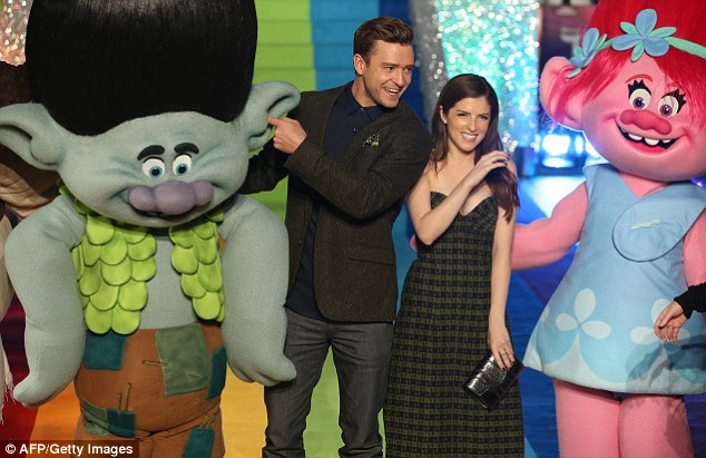 Up staged: Justin and Anna Kendrick, who lent their voices to DreamWorks animated family musical Trolls, posed with the popular dolls at an event in London on September 29