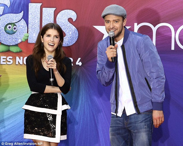 Having fun: Justin and Anna delighted the crowd outside Macy's Herald Square flagship store in New York on Thursday as they performed a number from Trolls, due out on November 4
