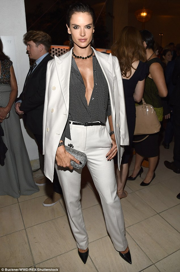 Daring look! On Saturday Alessandra attended the 14th Annual Hammer Museum Gala in Los Angeles looking stylish in a trouser suit without a bra