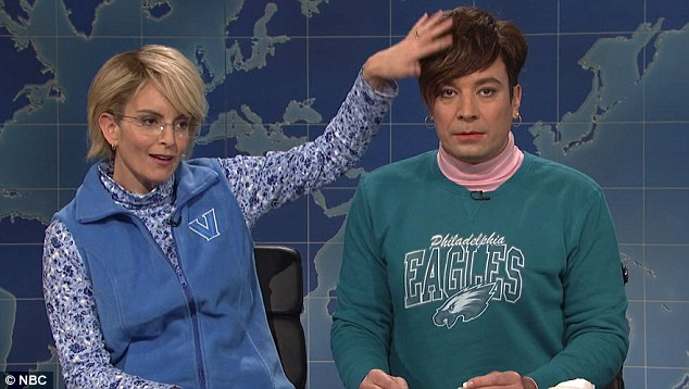 Fey rubbed Fallon's head as the pair appeared as suburban mothers who hadn't decided who to vote for. The moment was a nod to Fallon's interview