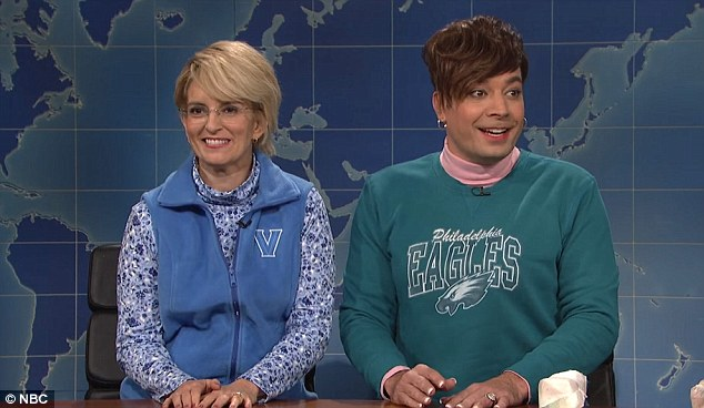 Tina Fey (left) poked fun at former SNL cast mate Jimmy Fallon (right) over his easygoing interview of Donald Trump during a guest appearance on the show