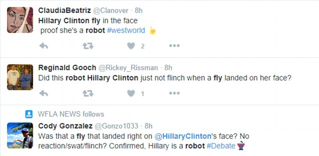 Clinton was mocked for being robotic on Twitter., Some of the posts can be seen above