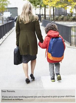 Australian preschool asks non-working parents to pick children up earlier