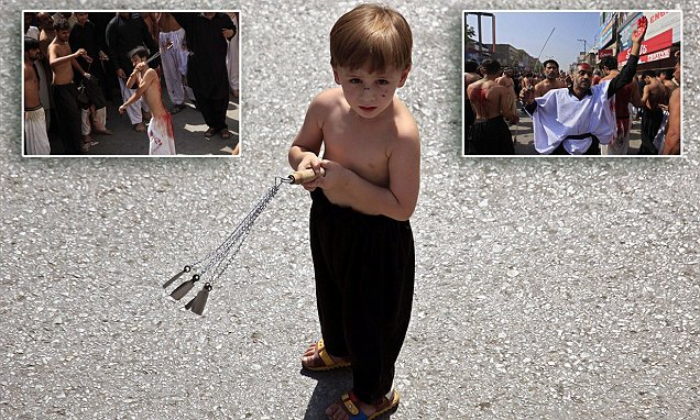 'Is that me cutting myself mum?' A blood-stained Shiite boy clutching a huge knife joins