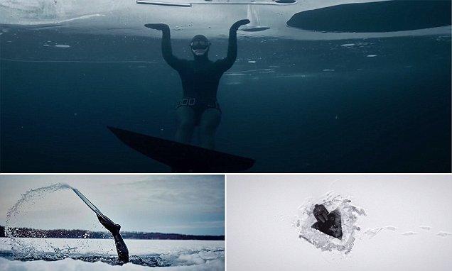 Johanna Nordblad captured freediving underneath a frozen lake