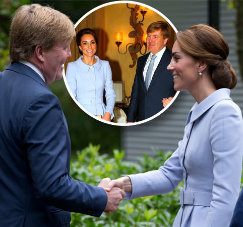 Feeling blue? Kate wears a Catherine Walker suit in Holland without William