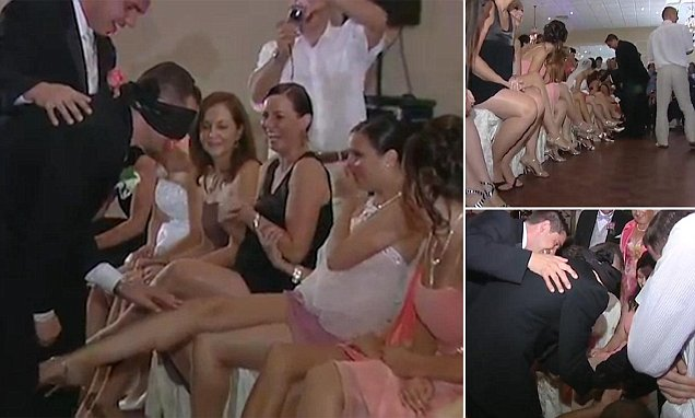 Polish groom squeezes the legs of female wedding guests while blindfolded