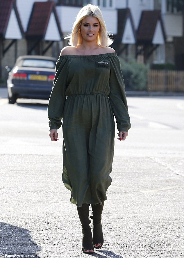 Serious business: Chloe Sims arrived ahead of another filming schedule with her co-stars in Essex