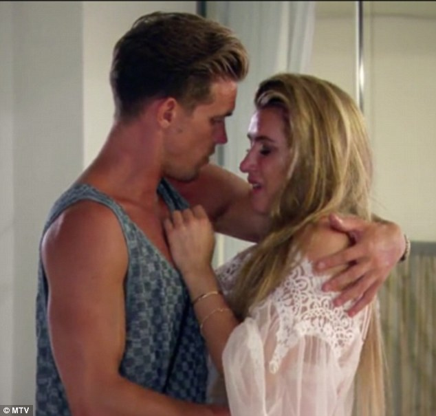 Heatache: Lillie Lexie Gregg, 25, was once again reduced to tears during Ex On The Beach scenes to be aired on Tuesday when Gaz, 28, admitted he also went behind her back with island new girl Melissa Reeves
