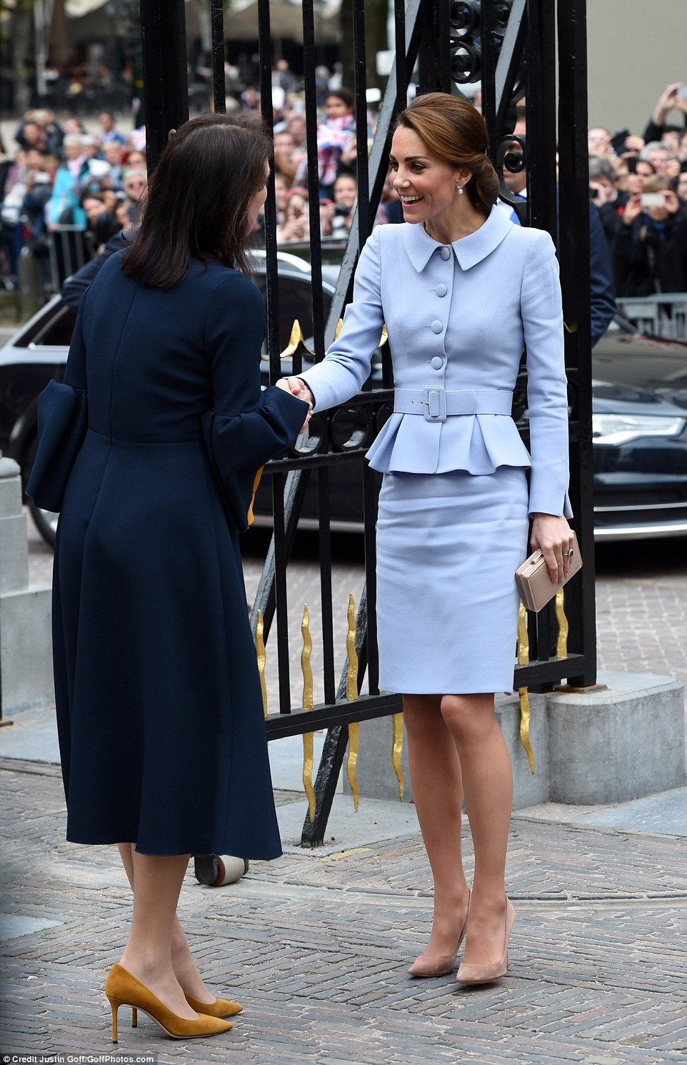 Kate is greeted by the director of the Mauritshuis gallery Emilie Gordenker in The Hague