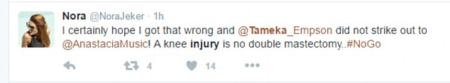 Different: Other fans pointed out that Anastacia and Tameka's injuries couldn't be compared