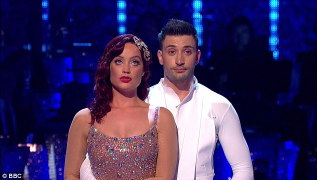 Bottom two: TV presenter Laura Whitmore also found herself in the dance off on Sunday night but was saved by the judges