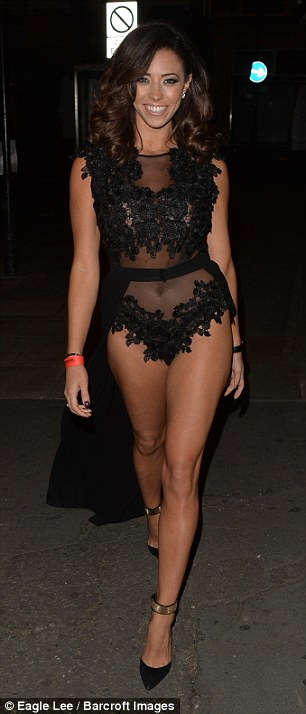 Racy: Pascal Craymer, 29, once again left little to the imagination in a racy bodysuit as she enjoyed a night out at London's Drury Club on Monday