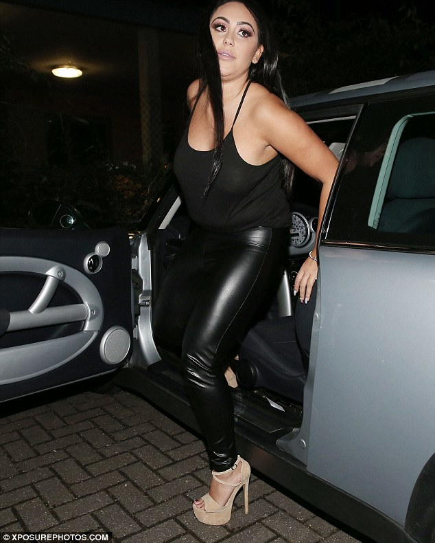 Stunner: The Geordie Shore star, 26, showed off her shape in skin-tight leather leggings and a revealing strappy top