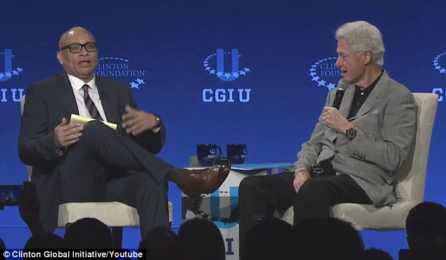 Comedy Central host Larry Wilmore (left) ended up doing the event as originally planned, sitting down with just Bill Clinton (right)