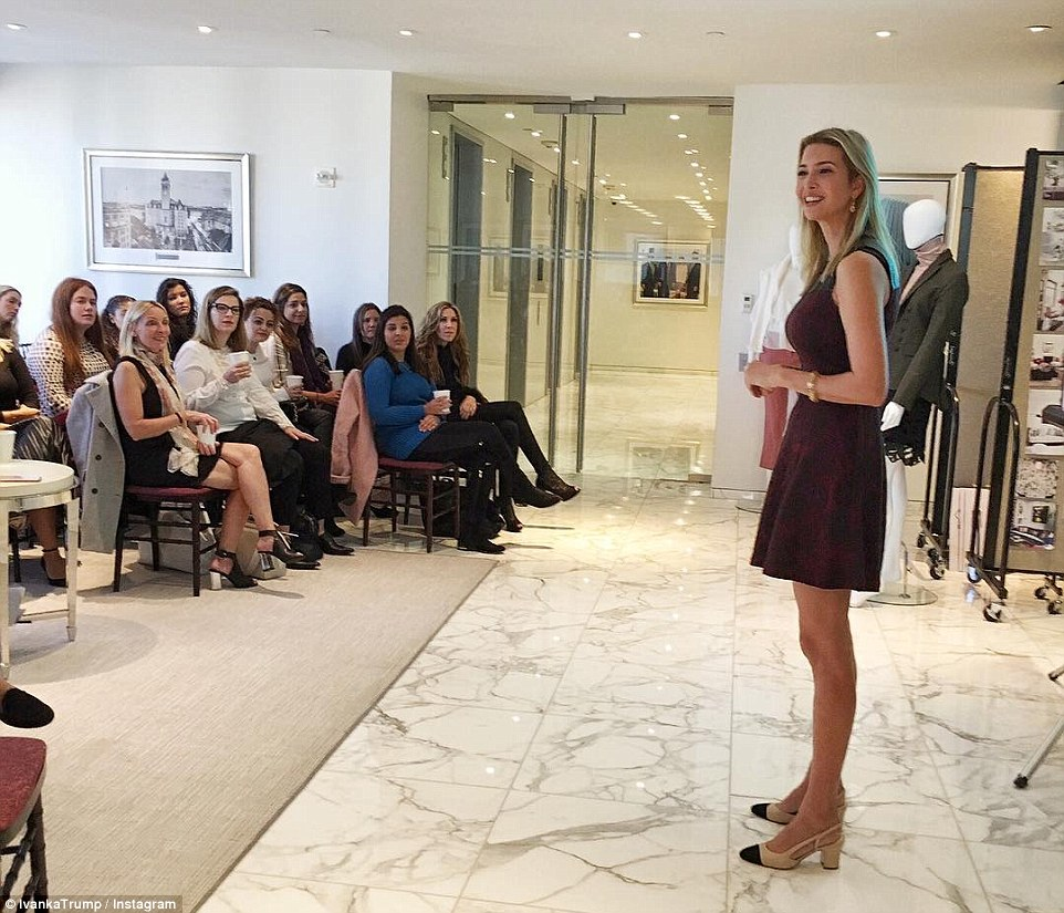 Hard at work: Ivanka shared her own image from the work day, showing herself addressing employees at their fall 2017 design summit