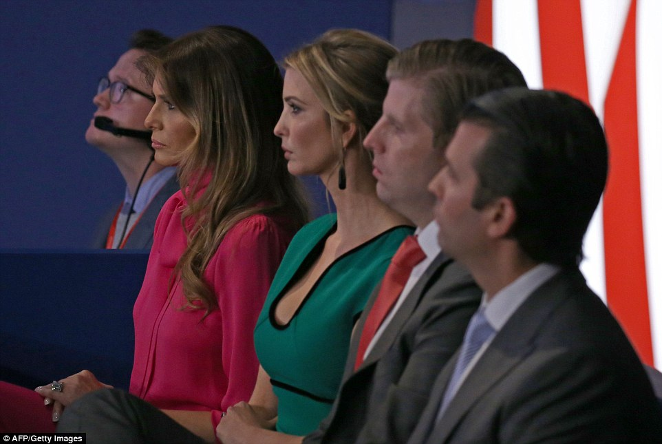 The Trumps: Ivanka was most recently seen supporting her father during the second presidential debate in St Louis on Sunday night
