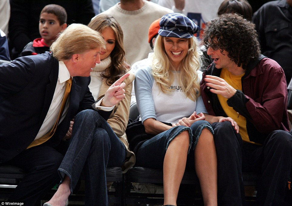 Long-running:  Trump has engaged in lewd conversations with Howard Stern on his show over a 17-year period. They are pictured with their wives at a basketball game in 2005